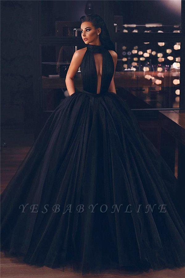 Sexy High-Neck Sleeveless Ball Gown Evening Dress