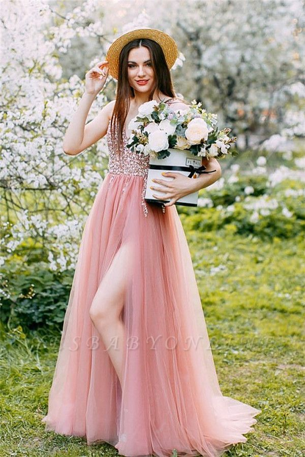 Wonderful Tulle Beading V-Neck Pink Evening Dress