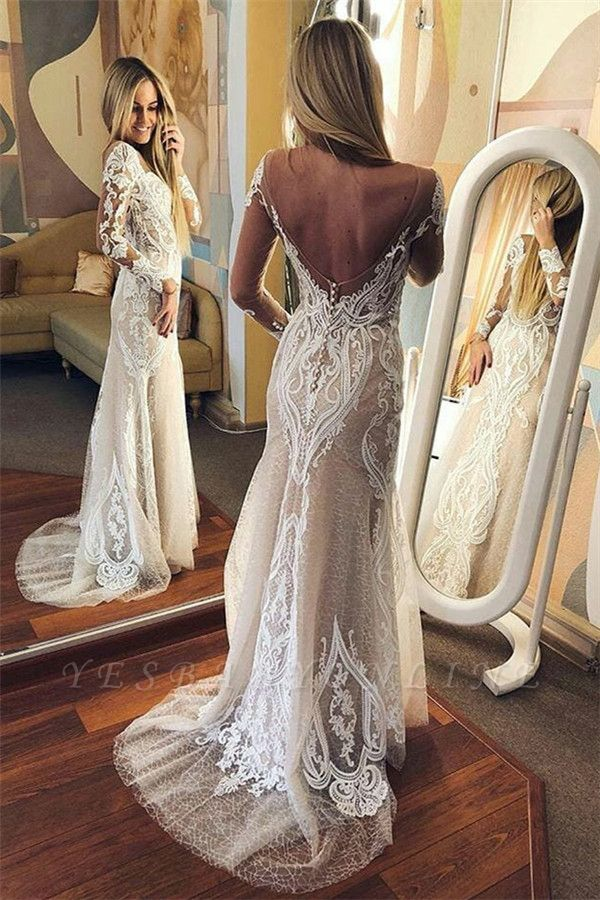 Sexy  Long-Sleeves Tulle Open Back lace Wedding Dresses