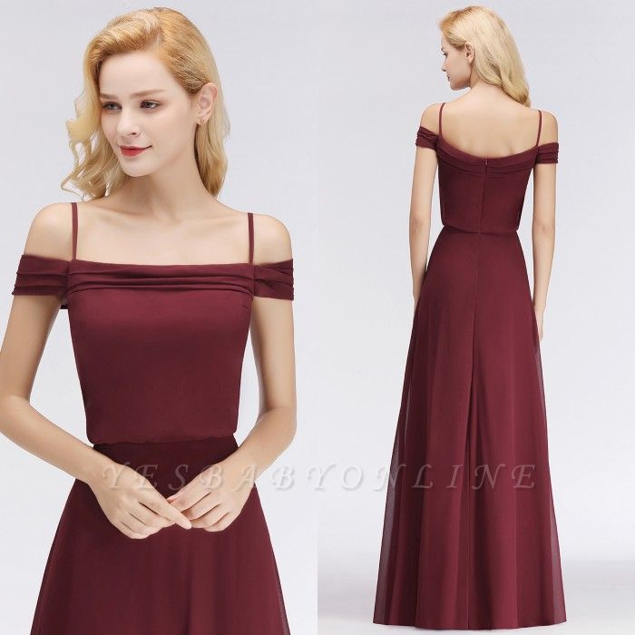 Long Off-the-Shoulder Elegant Burgundy A-Line Bridesmaid Dress