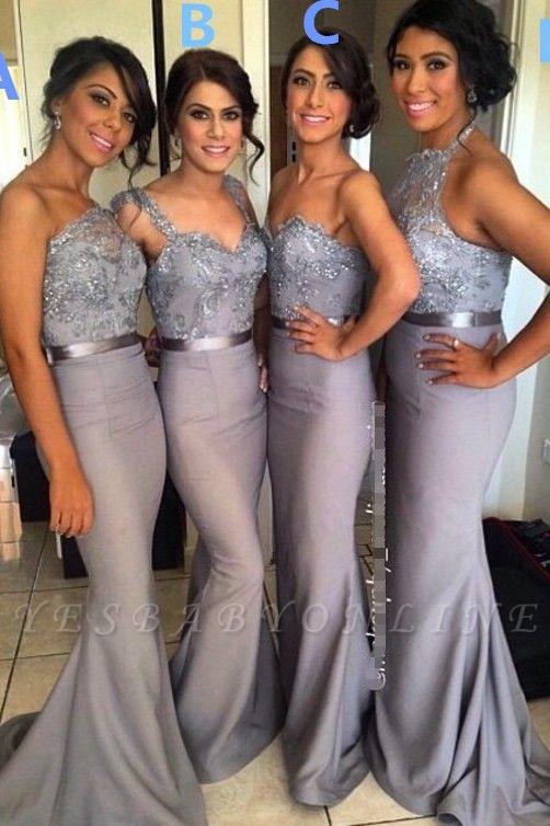 Ruffle  Draped Sweep-Train Appliques Mermaid Grey  Sash Sequined Bridesmaid Dresses