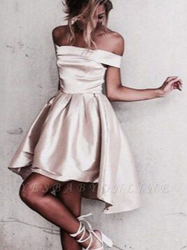 Glossy A-line Light Champagne Homecoming Dresses | Off-the-Shoulder Hi-Lo Graduation Dresses