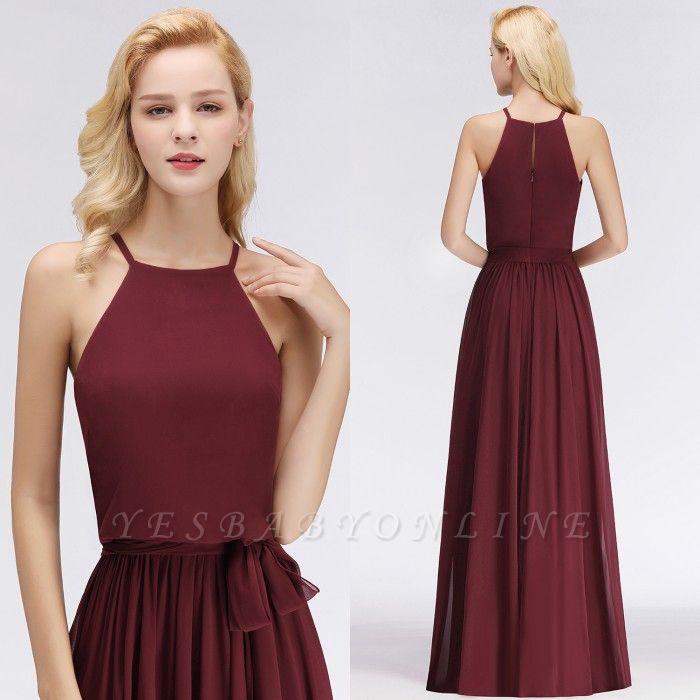 Chiffon A-Line Burgundy Simple Cheap Bridesmaid Dress