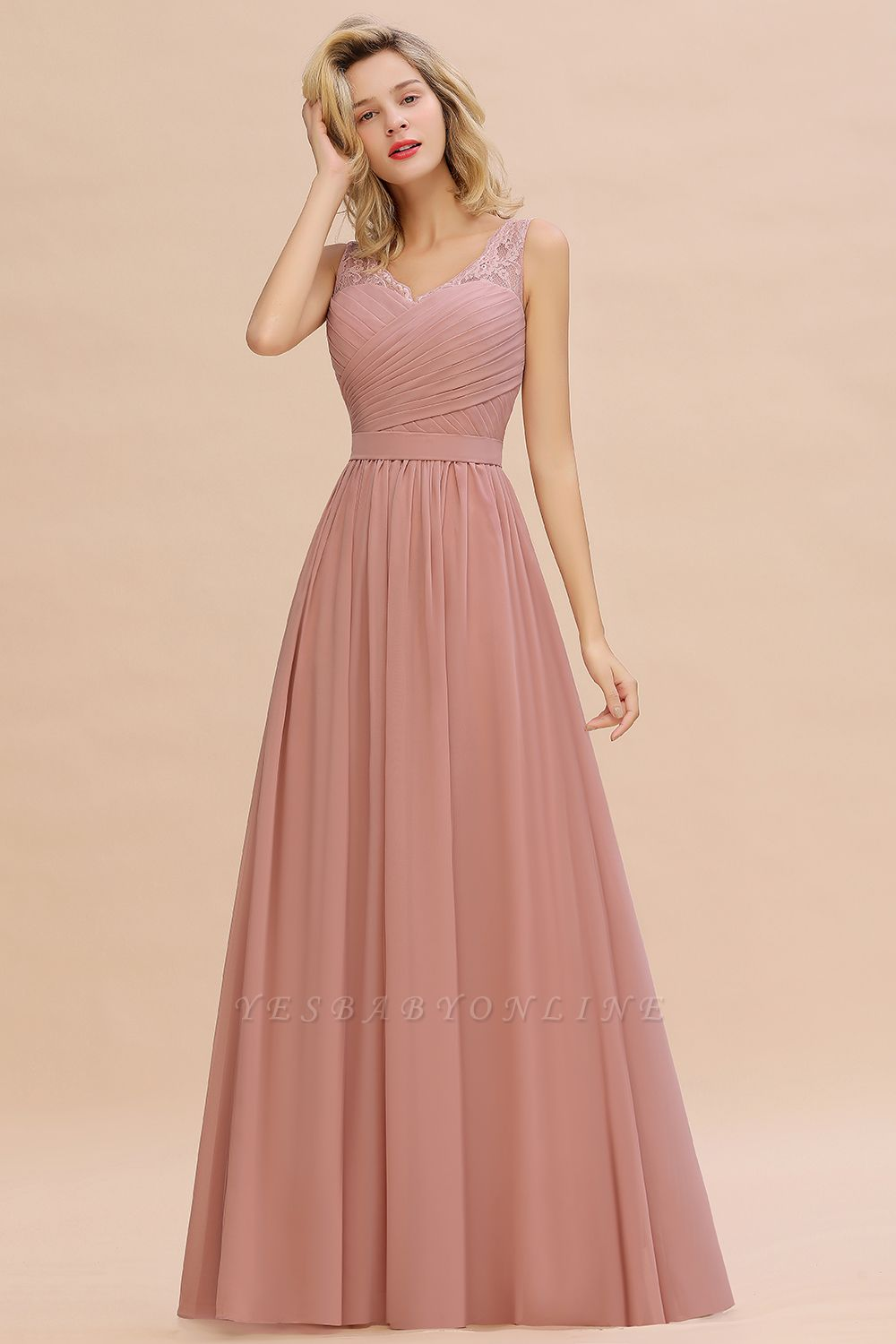 Cheap A-line Chiffon Lace V-Neck Ruffles Bridesmaid Dress in Stock