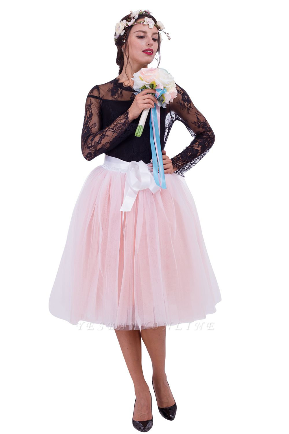 Glorious Tulle Knee-Length Ball-Gown Skirts | Elastic Bowknot Women's Skirts