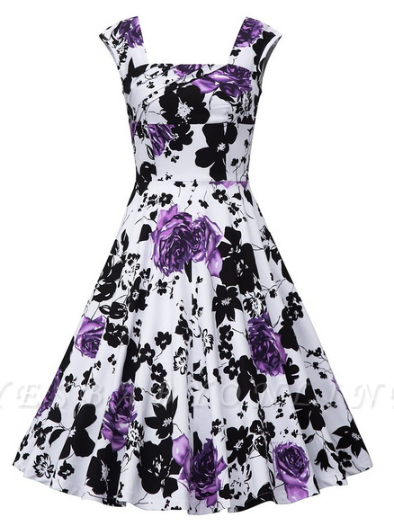 Fascinating Square A-line Knee-Length Floral Dresses   Cap-Sleeves Women's Dresses