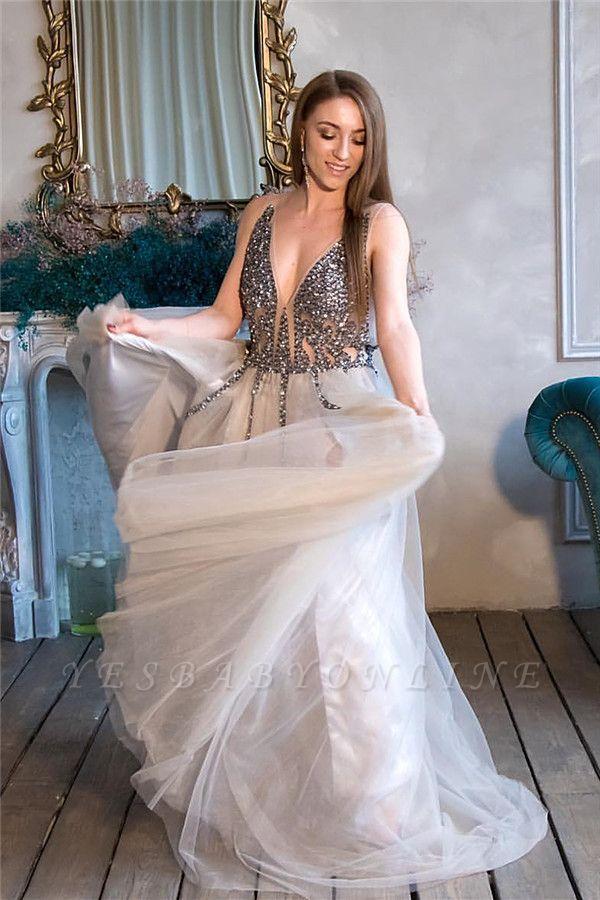 Straps Beadings Sleelvess Tulle Long Evening Dress