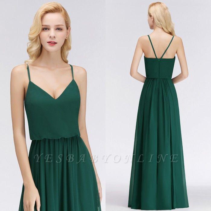 Dark-Green Chiffon A-Line Elegant Spaghetti-Straps Bridesmaid Dress