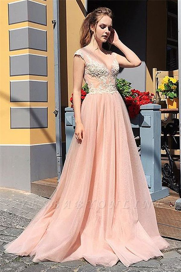 Elegant Appliques V-Neck Long Evening Dress