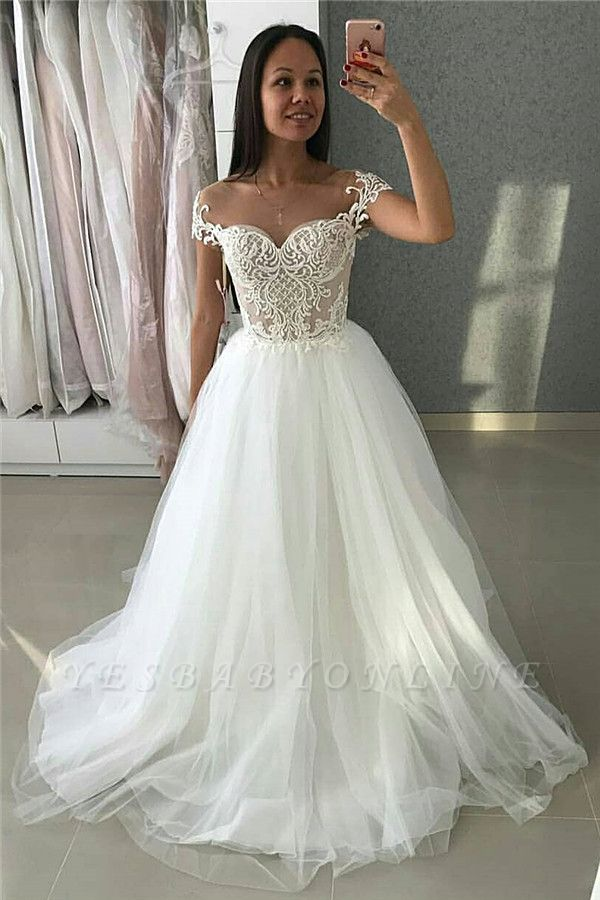 Simple A-Line Tulle Cap-Sleeves  Appliques Wedding Dress