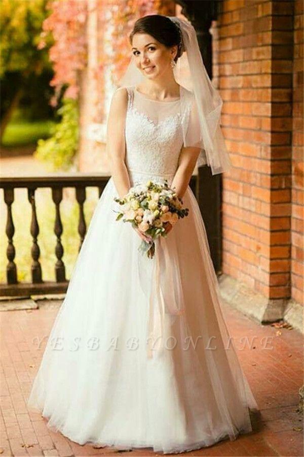 Stunning Jewel Sleeveless Tulle Lace Wedding Dress