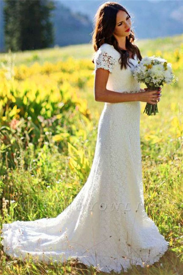 Timeless  Short-Sleeves Sheath Lace Appliques Wedding Dress
