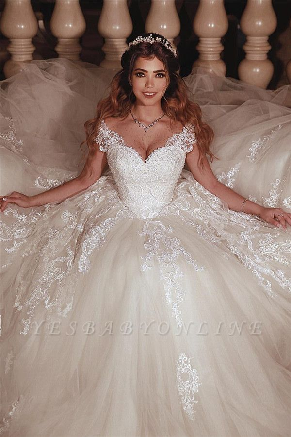 Tulle Sweetheart Lace Cap-Sleeves  Ball Gown Wedding Dress