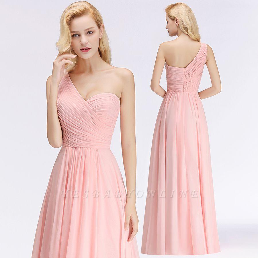 Ruffled One-Shoulder Pink Modest Floor-length Zipper Sleeveless Bridesmaid Dress
