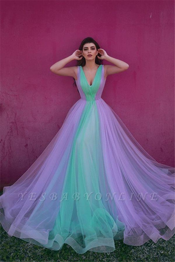 Stylish Tulle V-Neck Straps Evening Dress