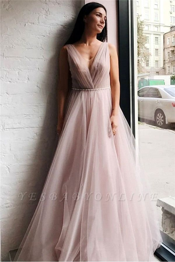 Tulle V-Neck Beading Long Evening Dress