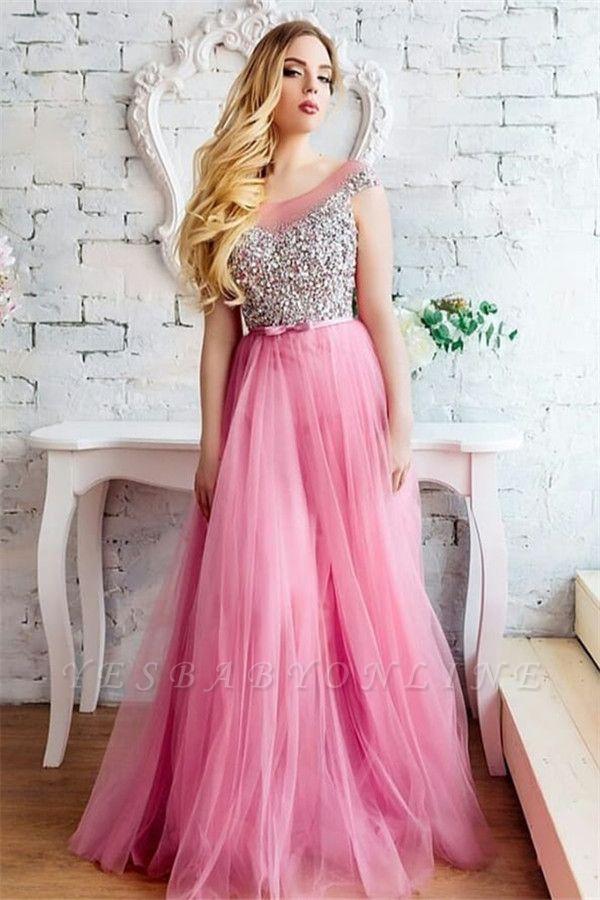 Tulle Scoop Sleeveless Beading Long Evening dresses
