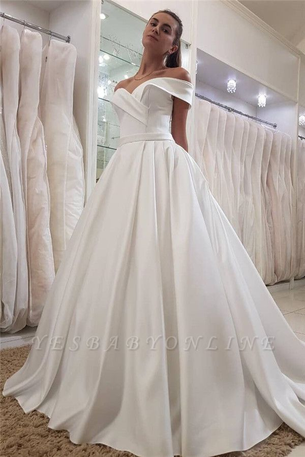 Simple Off-the-Shoulder Sweetheart  Ruffles Long Wedding Dress