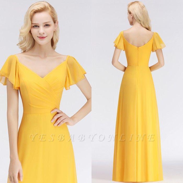 Yellow Floor-length Simple Cheap Short-Sleeve Bridesmaid Dress