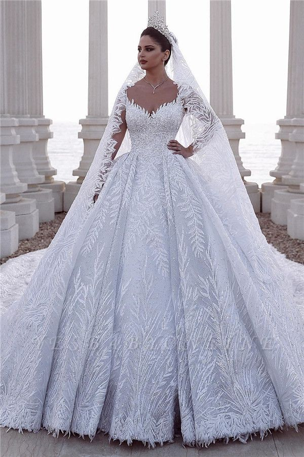 Exquisite Sweetheart Long Sleeves Beading Lace Wedding Dress