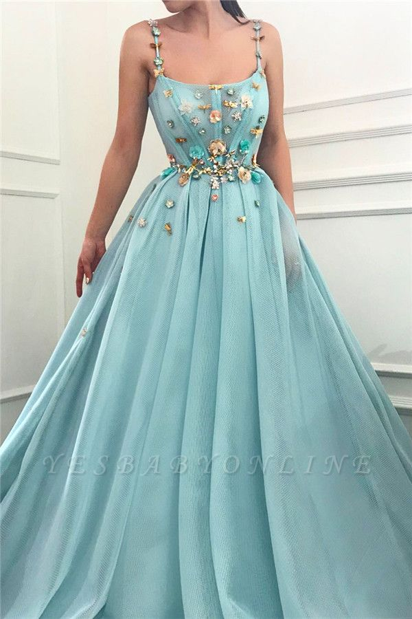 Sexy Spaghetti Straps Sleeveless Long Prom Dress | A Line Beading Flowers Cheap Prom Dress