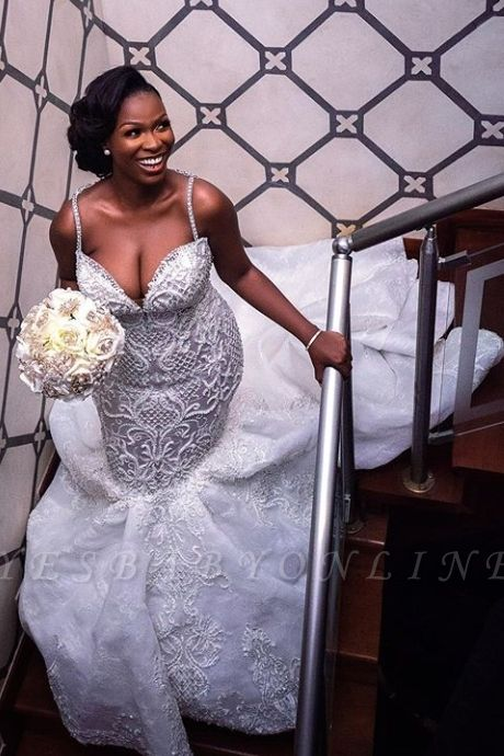 Luxury Beaded Sweetheart Lace Mermaid Wedding Dresses   Spaghetti-Straps Appliques Trumpet Bride Gowns