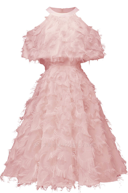 High neck Gorgeous Crew Neck Artificial Feather Dress Burgundy Short Dresses