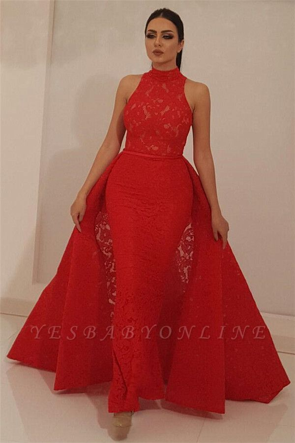 Fantastic High Neck Sleeveless Red Lace Prom Dress | Chic Mermaid Long Prom Dress with Detachable Skirt