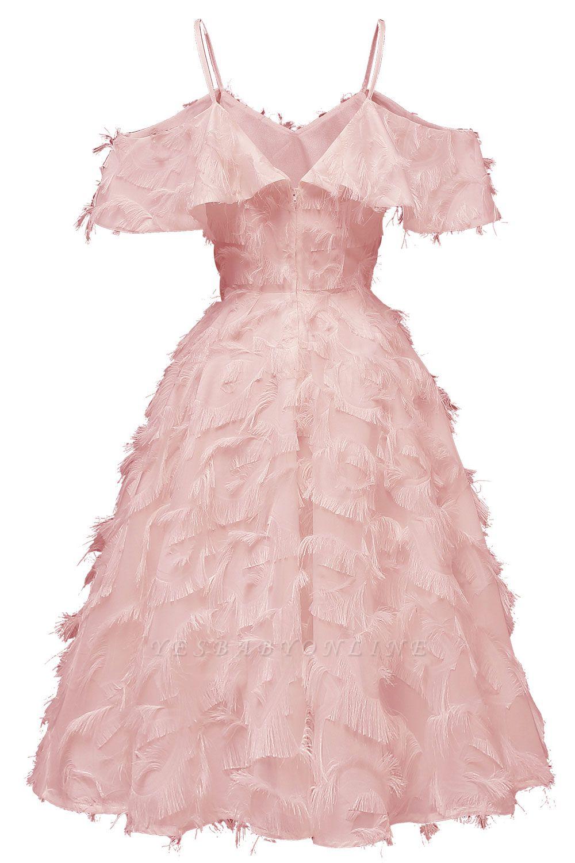 Stylish Spaghetti Straps Artifical Feather Princess Vintage Short Dresses