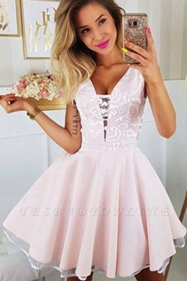 Sexy Deep V Neck White Appliques Homecoming Dress | Cheap Sleeveless Short Pink Homecoming DressBC2610
