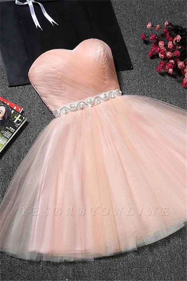 Crystal Ruffles Short A-Line Simple Sweetheart Short Homecoming Dresses