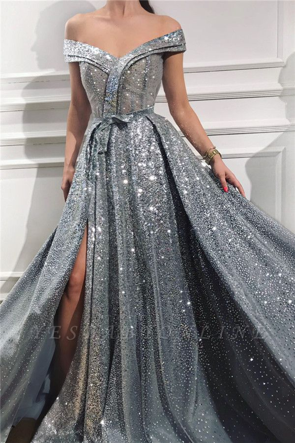 Sparkly Sequins Off the Shoulder Sleeveless Prom Dress | Gorgeous Sweetheart Front Slit Shinny Long Prom Dress