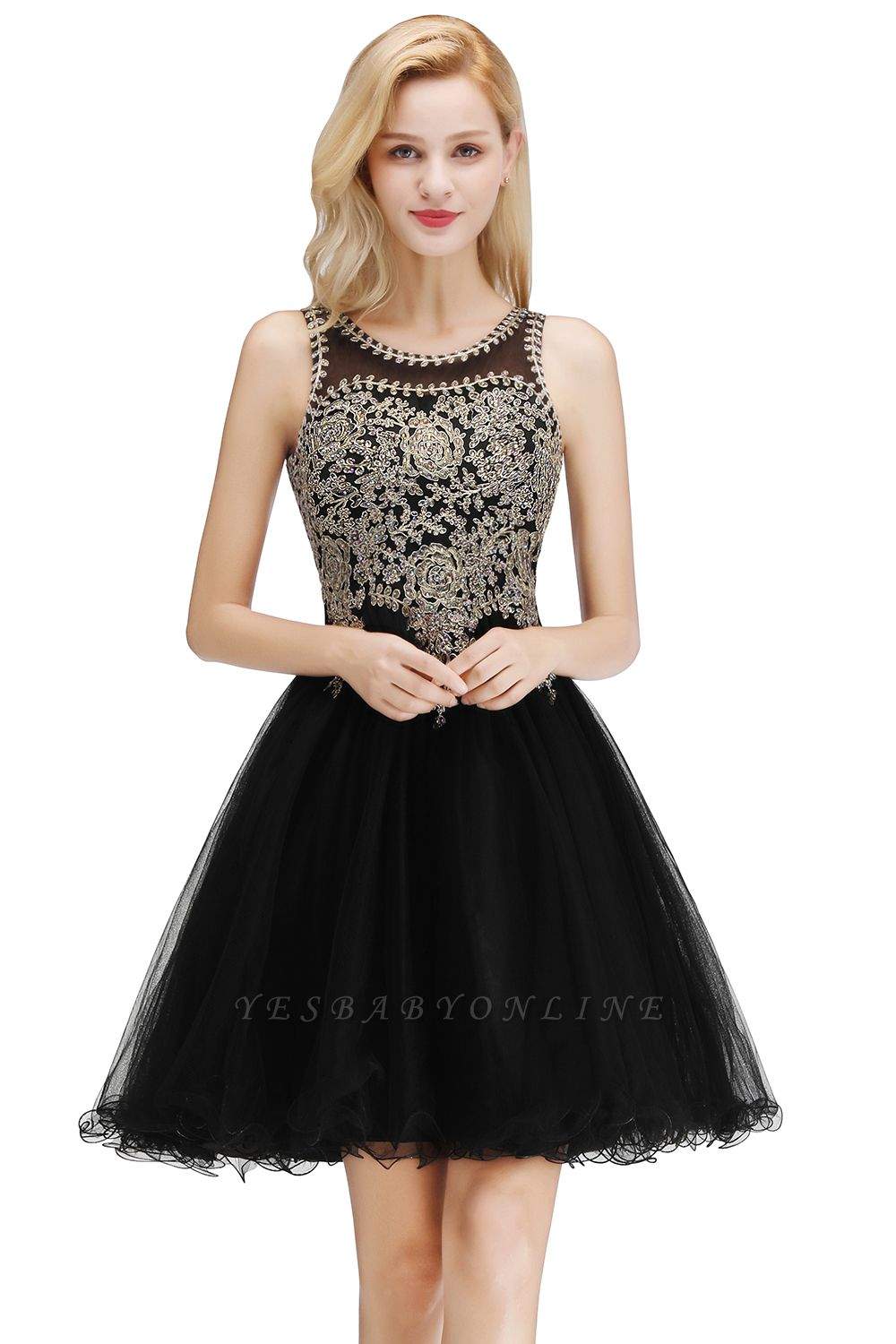 Cheap A-line Tulle Lace Homecoming Dress with Beadings in Stock