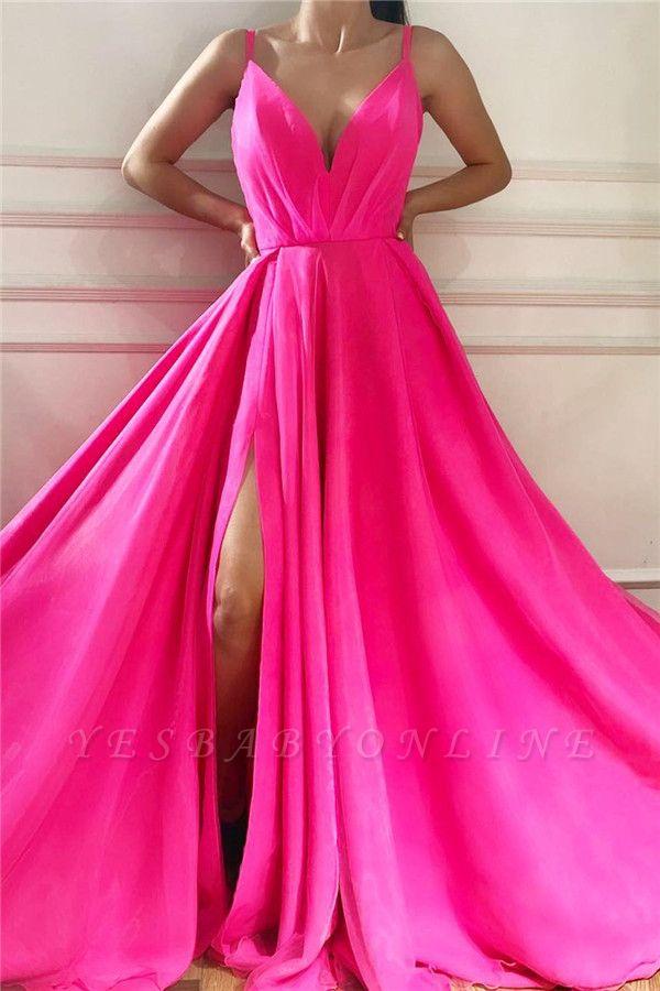 Sexy Spaghetti Straps Sleeveless Long Prom Dress | Affordable V Neck Front Slit Long Pink Prom Dress
