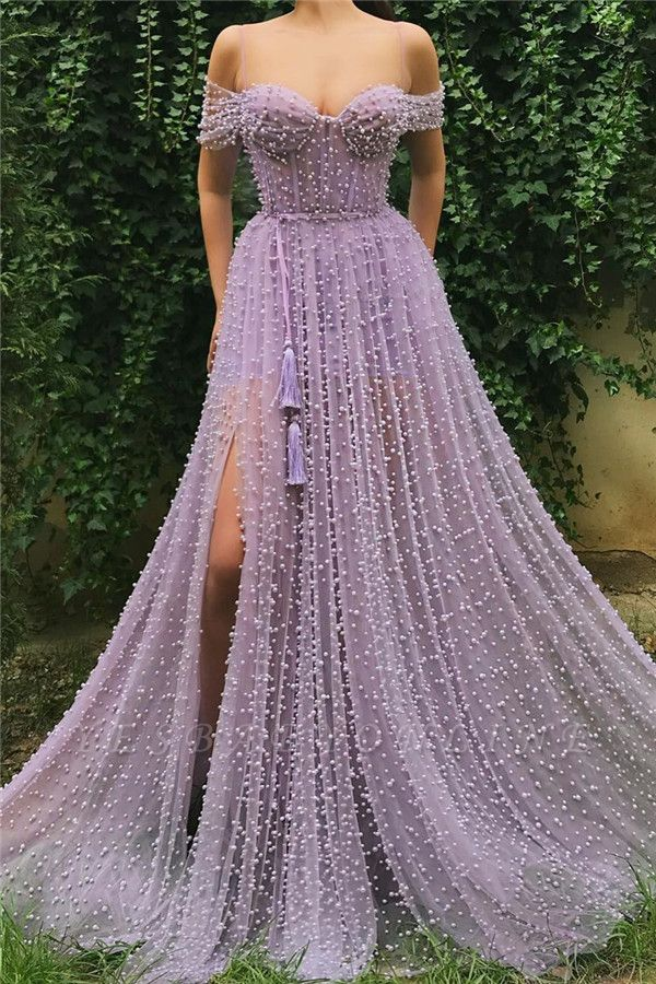 Exquisite Tulle Pearls Off the Shoulder Prom Dress | Sexy Sweetheart Front Slit Long Affordable Prom Dress
