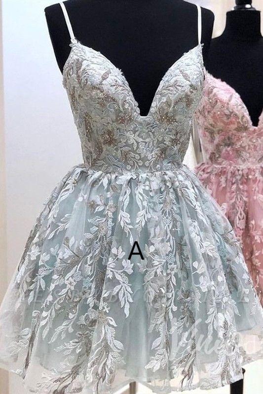 Stylish Spaghetti Straps Short Homecoming Dress | Cheap V Neck Sleeveless Lace Cocktail Dress