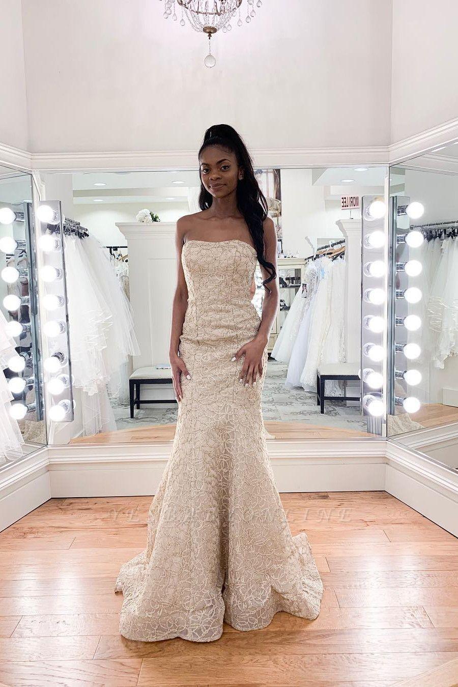 Charming Strapless Beaded Mermaid Wedding Dress | Affordable Sleeveless Long Bridal Dress