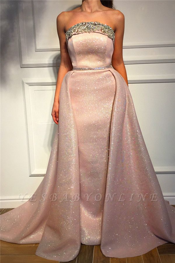 Sparkle Sequins Strapless Pink Prom Dress | Fantastic Sleeveless Beading Long Prom Dress