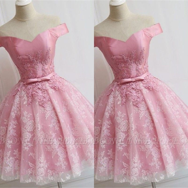 Elegant Pink Off-the-Shoulder Appliques Bowknot A-line Homecoming Dress