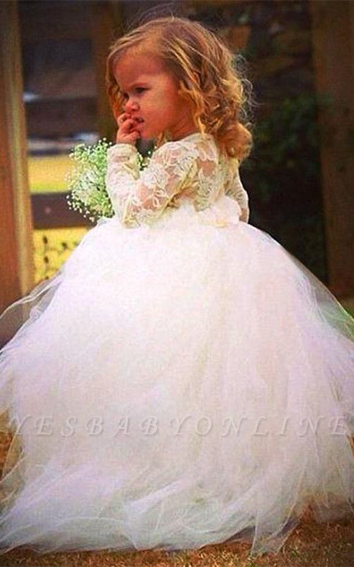 Cheap Long Sleeves Tulle Flower Girl Dress With Lace