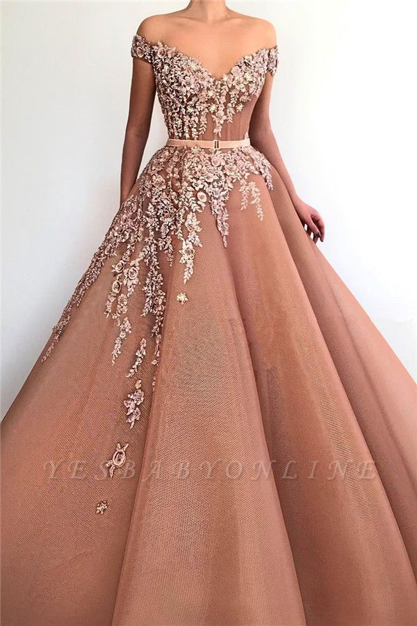 Unique Off the Shoulder Sweetheart Long Prom Dress | Chic Ball Gown Applqiues Sleeveless Affordable Prom Dress