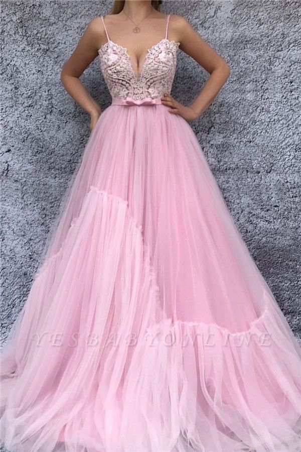 Sexy Spaghetti Straps V Neck Pink Prom Dress | Chic Lace Bodice Cheap Long Prom Dress with Sash