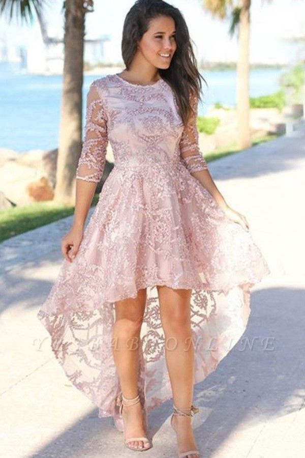 Chic Hi-Lo Jewel 3/4 Sleeves Prom Dress | Exquisite Lace Beading Pink Prom Gown
