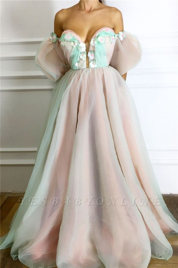Sexy Strapless Deep V Neck Prom Dress | Unique Short Sleeves Tulle Long Prom Dress