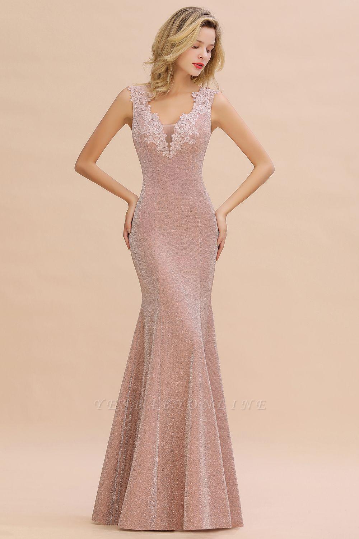 Glittery Deep V-neck Sleeveless Pink Floor-length Long Evening Dresses