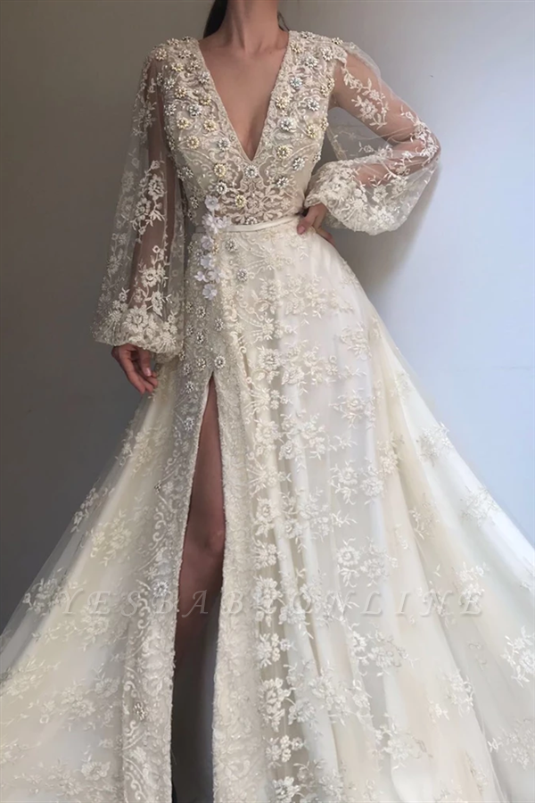 Exquisite Tulle Lace Beading Long Sleeves Prom Dress   Sexy V Neck Beading Slit Prom Dress