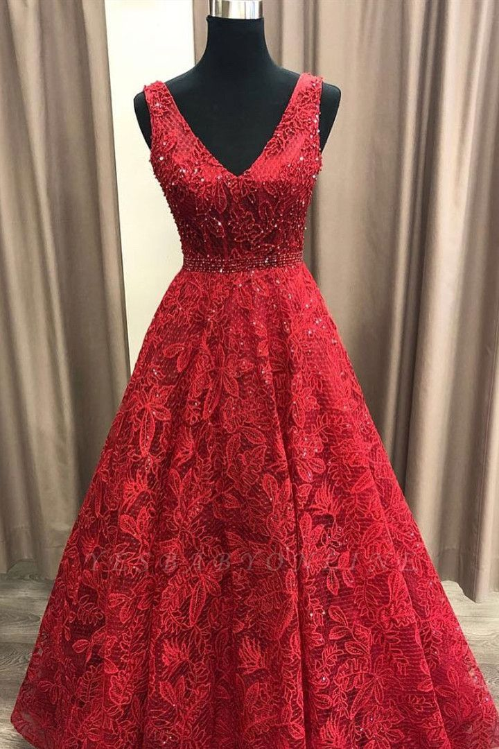 Charming V Neck Sleeveless Prom Dress | Affordable Red Lace Beading Long Prom Gown