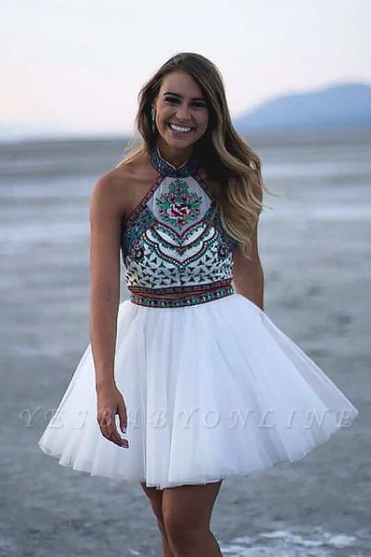 Chic Two Pieces Halter Homecoming Dress   Stylish Appliques Beading Short Cocktail Dress