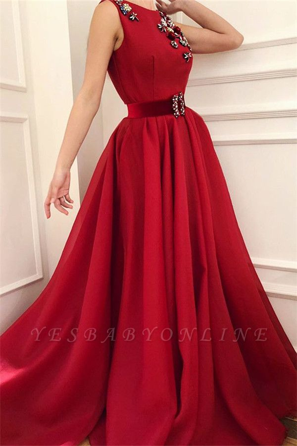 Cute Satin A Line Flowers Red Prom Dress with Dragonfly | Chic Scoop Sleeveless Long Prom Dress with Sash