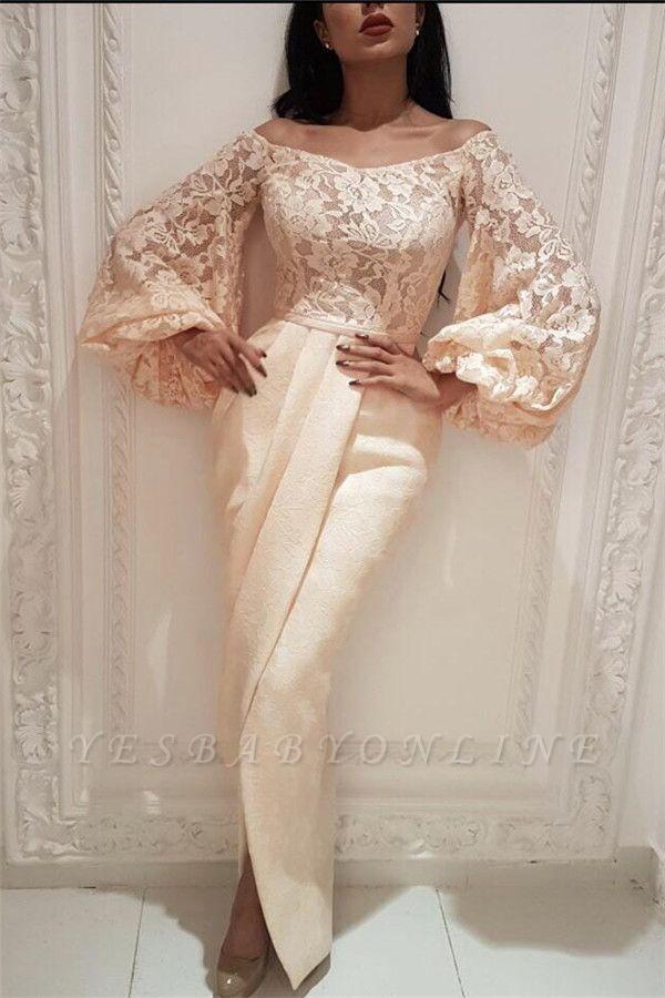 Elegant Lace Off the Shoulder Long Prom Dress | Cheap Long Sleeves Slit Mermaid Prom Dress